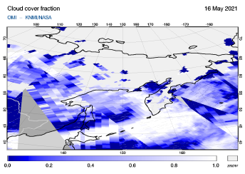 OMI - Cloud cover fraction of 16 May 2021