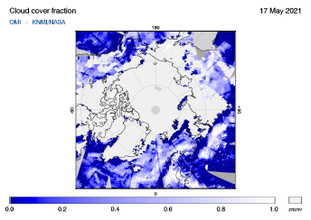 OMI - Cloud cover fraction of 17 May 2021