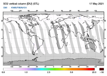 OMI - SO2 vertical column of 17 May 2021