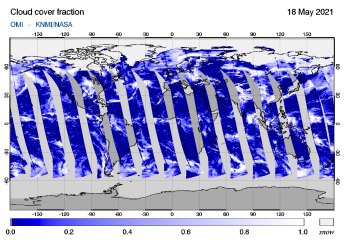 OMI - Cloud cover fraction of 18 May 2021