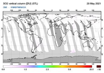 OMI - SO2 vertical column of 20 May 2021