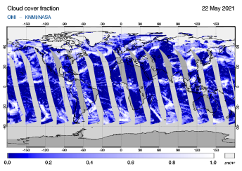 OMI - Cloud cover fraction of 22 May 2021