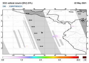 OMI - SO2 vertical column of 22 May 2021
