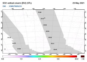 OMI - SO2 vertical column of 23 May 2021