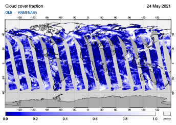 OMI - Cloud cover fraction of 24 May 2021