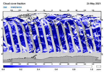 OMI - Cloud cover fraction of 25 May 2021