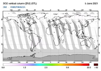 OMI - SO2 vertical column of 05 June 2021