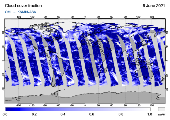 OMI - Cloud cover fraction of 06 June 2021