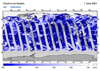 OMI - Cloud cover fraction of 07 June 2021