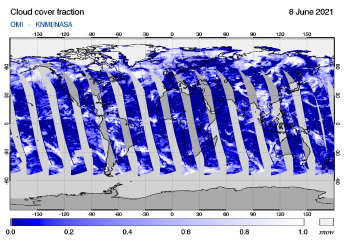OMI - Cloud cover fraction of 08 June 2021