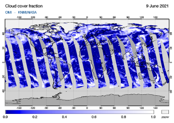 OMI - Cloud cover fraction of 09 June 2021