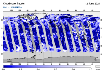 OMI - Cloud cover fraction of 12 June 2021