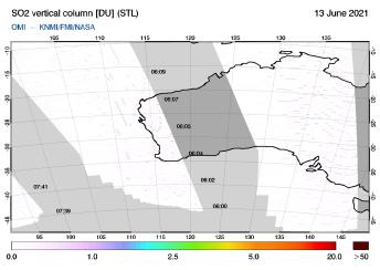 OMI - SO2 vertical column of 13 June 2021