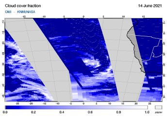 OMI - Cloud cover fraction of 14 June 2021