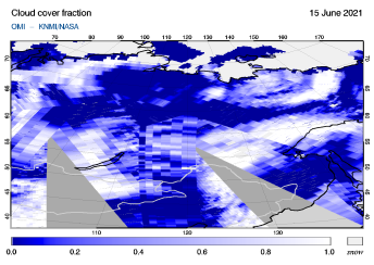 OMI - Cloud cover fraction of 15 June 2021