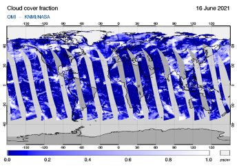 OMI - Cloud cover fraction of 16 June 2021