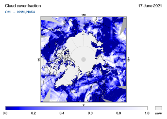 OMI - Cloud cover fraction of 17 June 2021