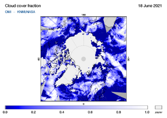 OMI - Cloud cover fraction of 18 June 2021