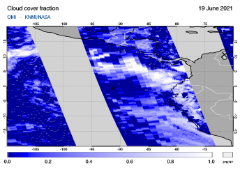 OMI - Cloud cover fraction of 19 June 2021