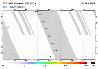 OMI - SO2 vertical column of 19 June 2021