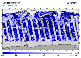 OMI - Cloud cover fraction of 20 June 2021
