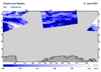 OMI - Cloud cover fraction of 21 June 2021