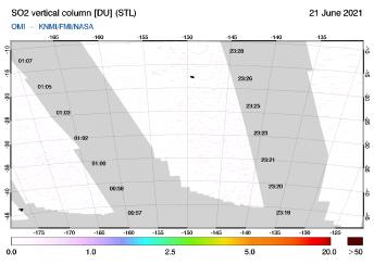 OMI - SO2 vertical column of 21 June 2021