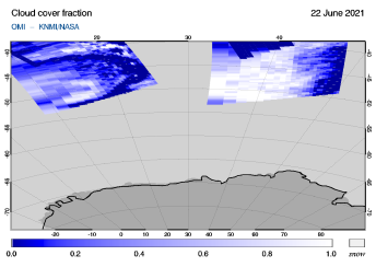 OMI - Cloud cover fraction of 22 June 2021
