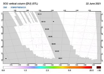 OMI - SO2 vertical column of 22 June 2021