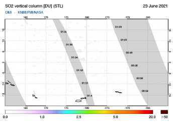 OMI - SO2 vertical column of 23 June 2021