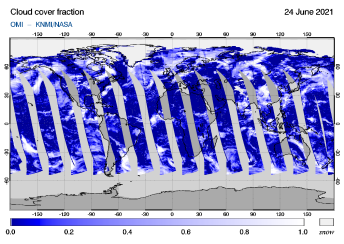 OMI - Cloud cover fraction of 24 June 2021