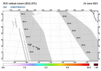 OMI - SO2 vertical column of 24 June 2021