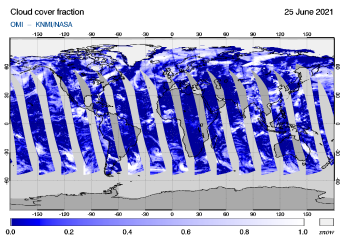 OMI - Cloud cover fraction of 25 June 2021