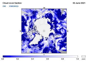 OMI - Cloud cover fraction of 30 June 2021