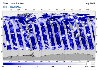 OMI - Cloud cover fraction of 01 July 2021