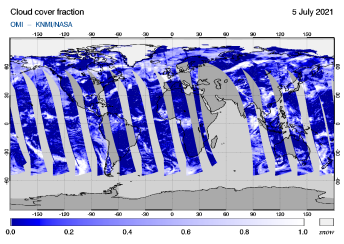 OMI - Cloud cover fraction of 05 July 2021