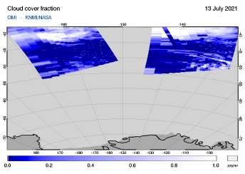 OMI - Cloud cover fraction of 13 July 2021