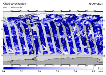 OMI - Cloud cover fraction of 19 July 2021