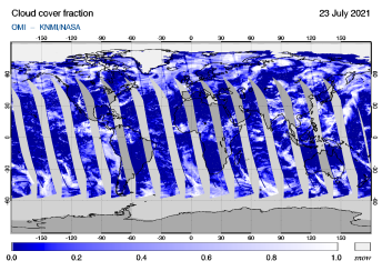 OMI - Cloud cover fraction of 23 July 2021