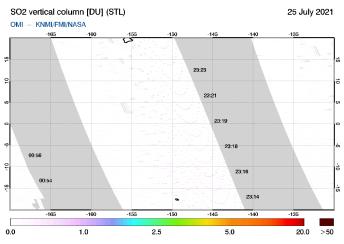 OMI - SO2 vertical column of 25 July 2021