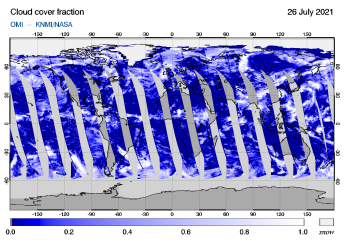 OMI - Cloud cover fraction of 26 July 2021