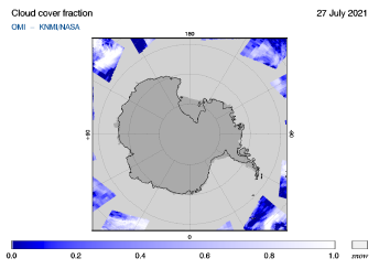 OMI - Cloud cover fraction of 27 July 2021