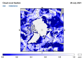 OMI - Cloud cover fraction of 28 July 2021