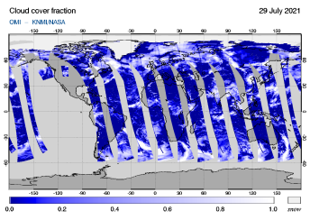 OMI - Cloud cover fraction of 29 July 2021