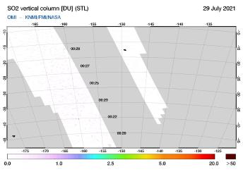 OMI - SO2 vertical column of 29 July 2021