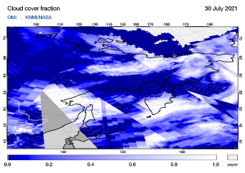 OMI - Cloud cover fraction of 30 July 2021