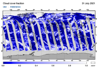 OMI - Cloud cover fraction of 31 July 2021