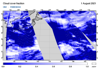 OMI - Cloud cover fraction of 01 August 2021