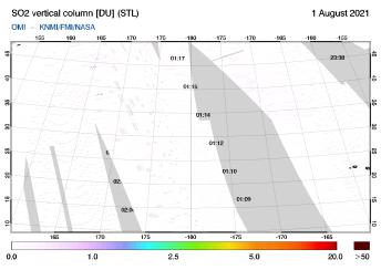 OMI - SO2 vertical column of 01 August 2021