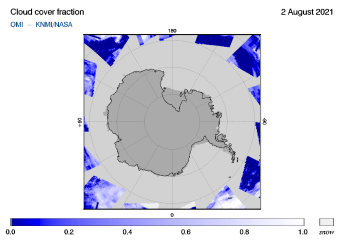 OMI - Cloud cover fraction of 02 August 2021